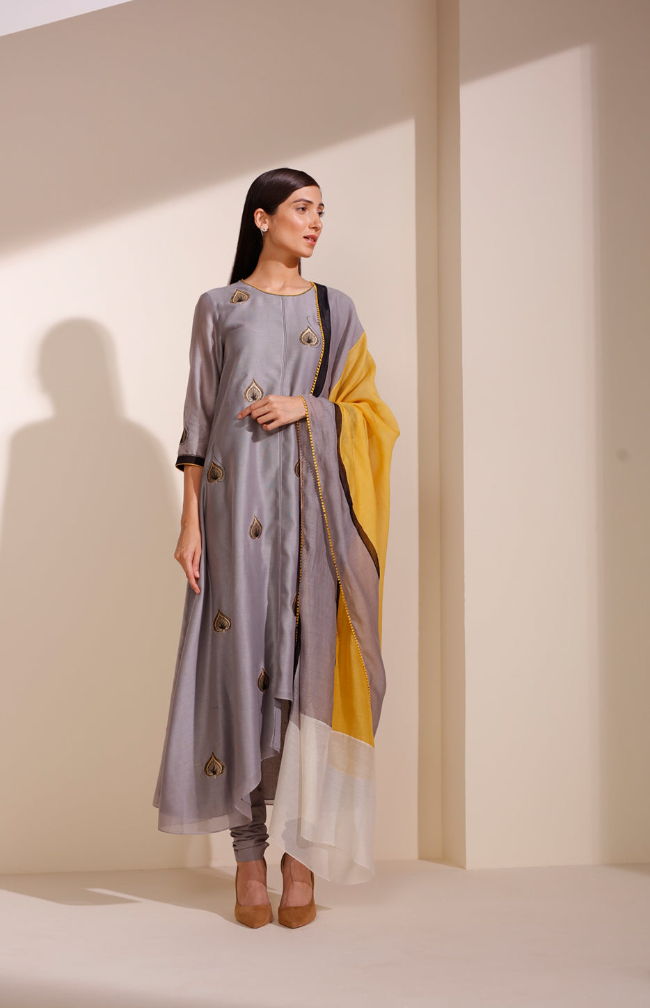 Steel Grey CKD In Georgette