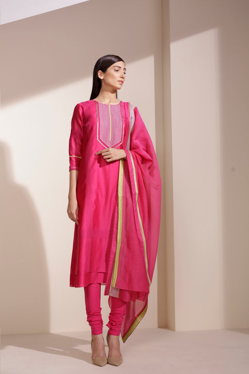 Magenta Suits in Chanderi