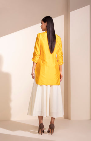 Mustard Chanderi Shirt With Khadi Palazzo