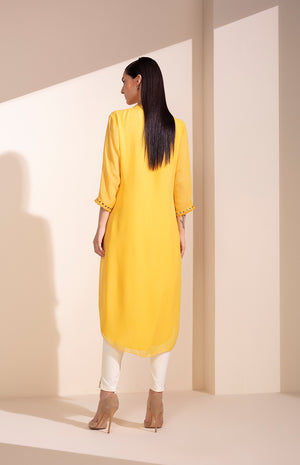 Mustard Tunic In Georgette With Cutwork
