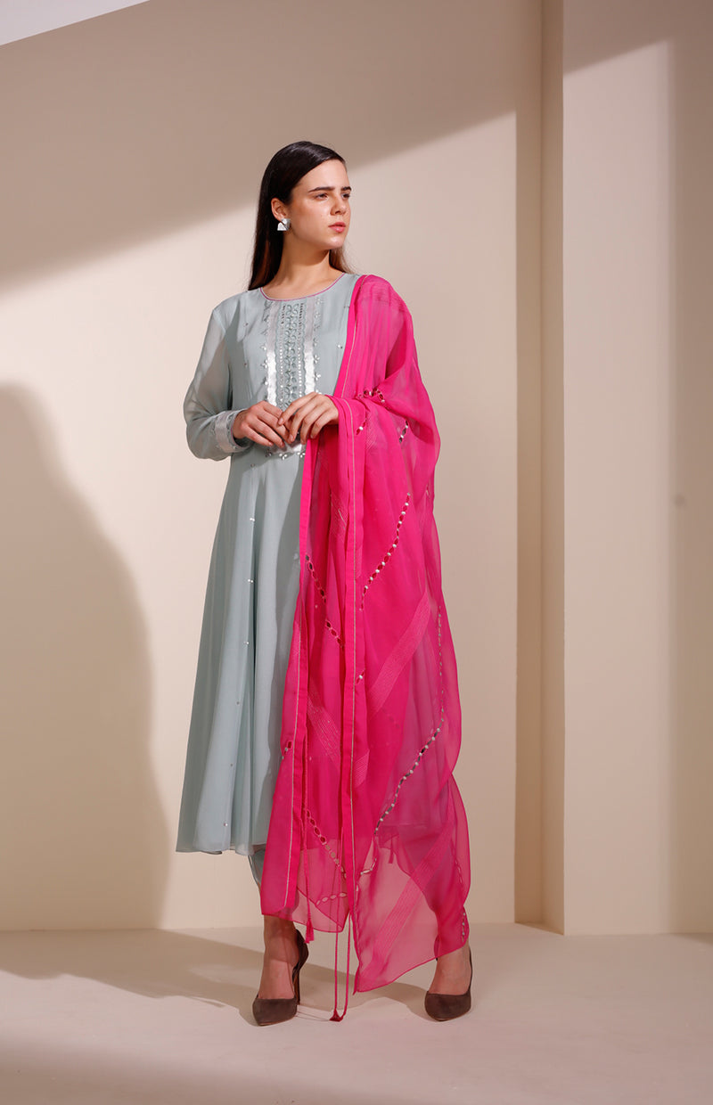 Sea Blue Anarkali In Georgette With Sequined Embroidery