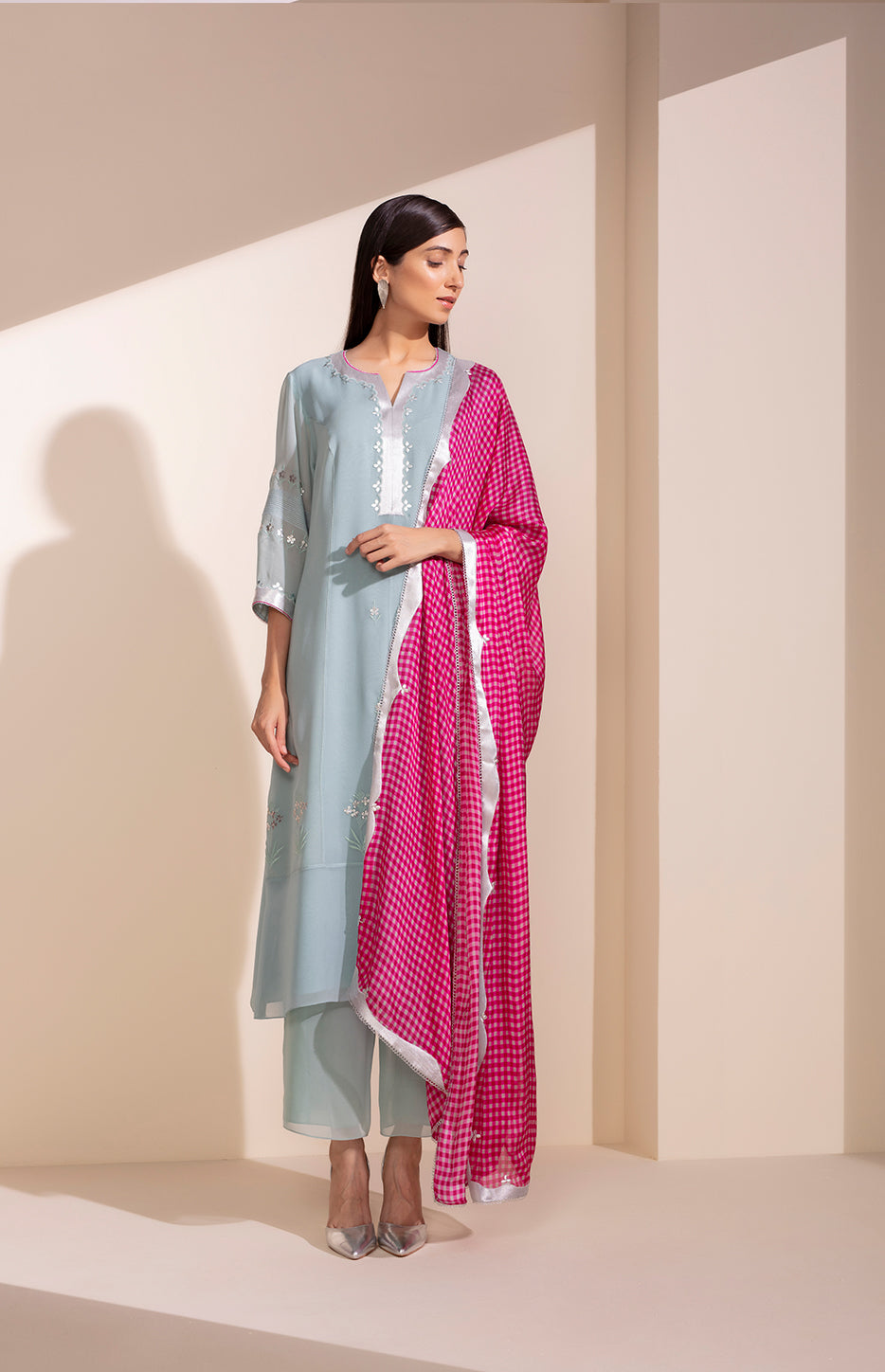 Sea Blue Anarkali In Georgette With Check Dupatta