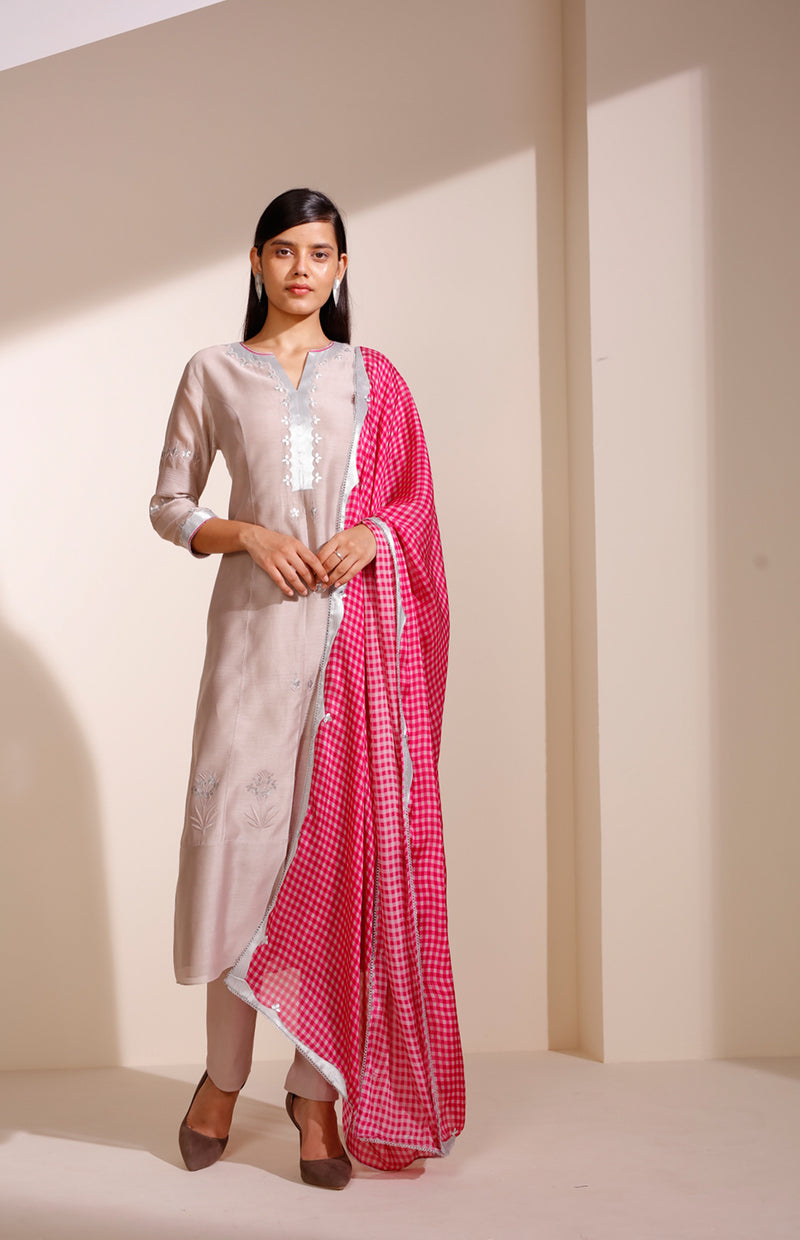 Taupe Anarkali In Georgette With Check Dupatta
