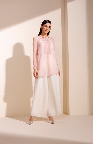 Baby Pink Shirt In Georgette With Embroidery