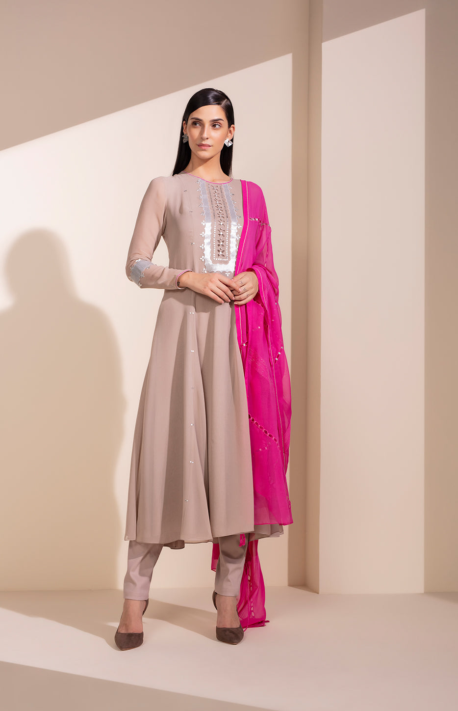Taupe Anarkali In Georgette With Sequined Embroidery
