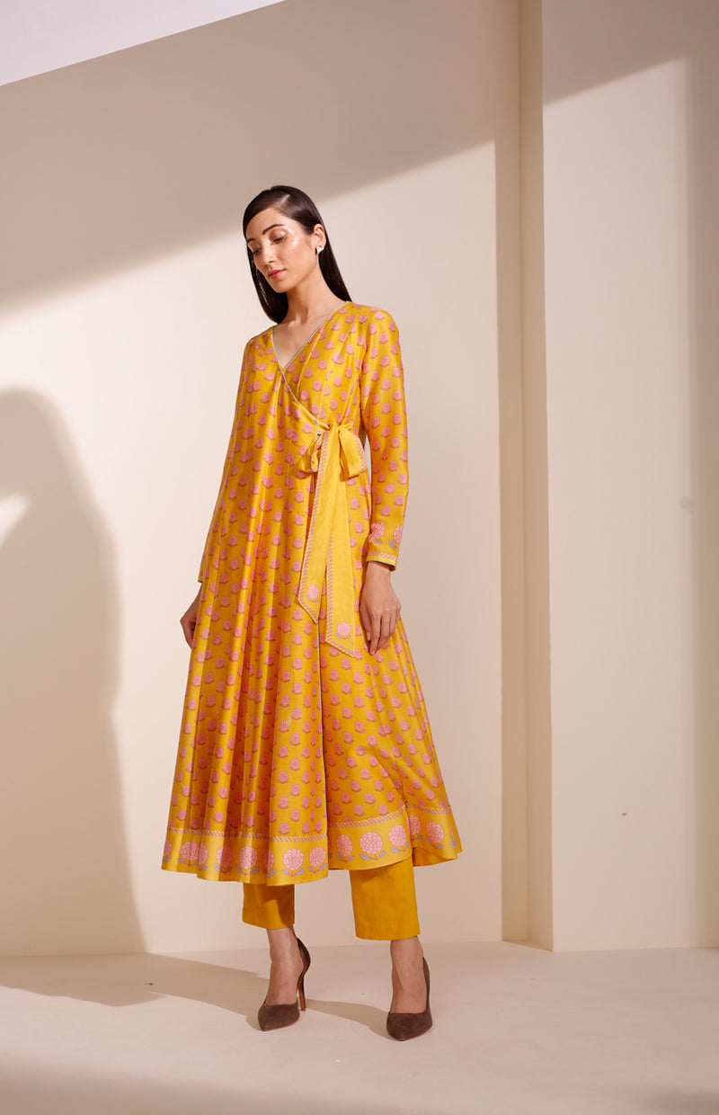 Mustard Digital Printed Anarkali in Chanderi