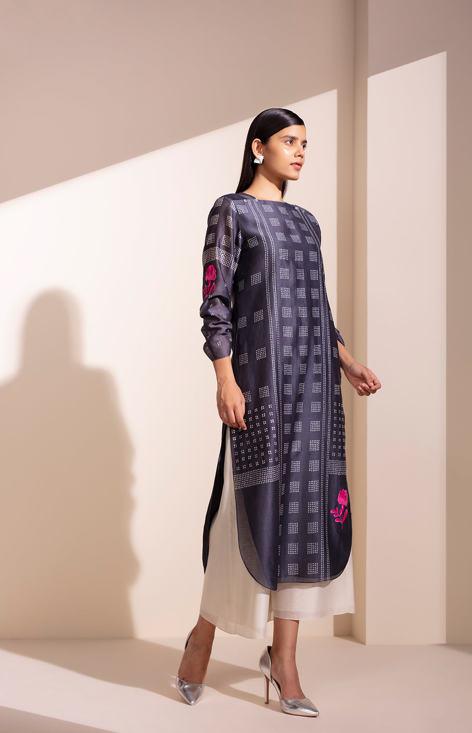 Charcoal Tunic in Chanderi with Shibori Print