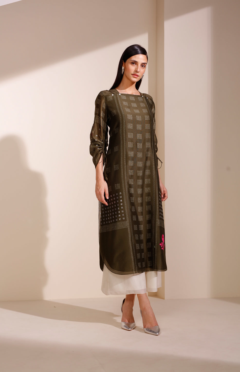 Khaki Tunic In Chanderi With Shibori Artwork