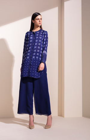 Indigo Shirt In Vis Silk