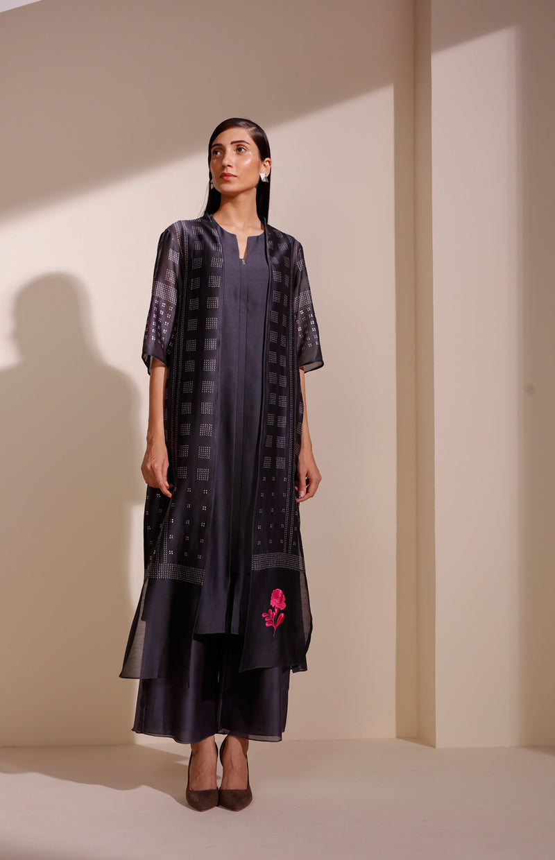 Charcoal Jacket set in Chanderi