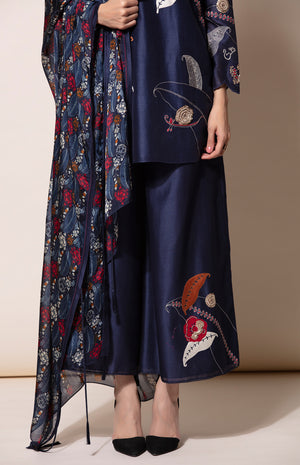 Navy Appliqué Threaded embroidery Tunic and Palazzo set with digital printed dupatta