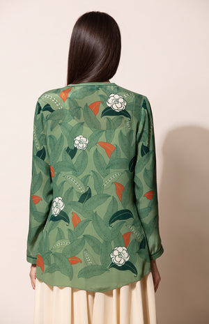 Dirty Green digital print Shirt with Inner