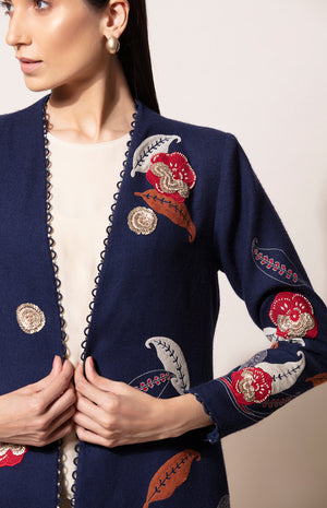 Sequined Wool Jacket in Navy