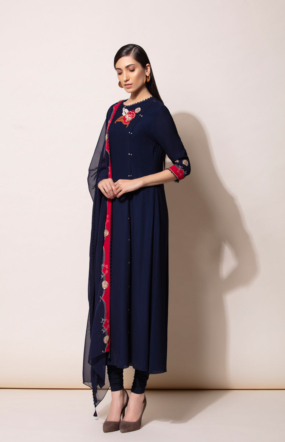Navy Embroidered Suit set with Patch Dupatta