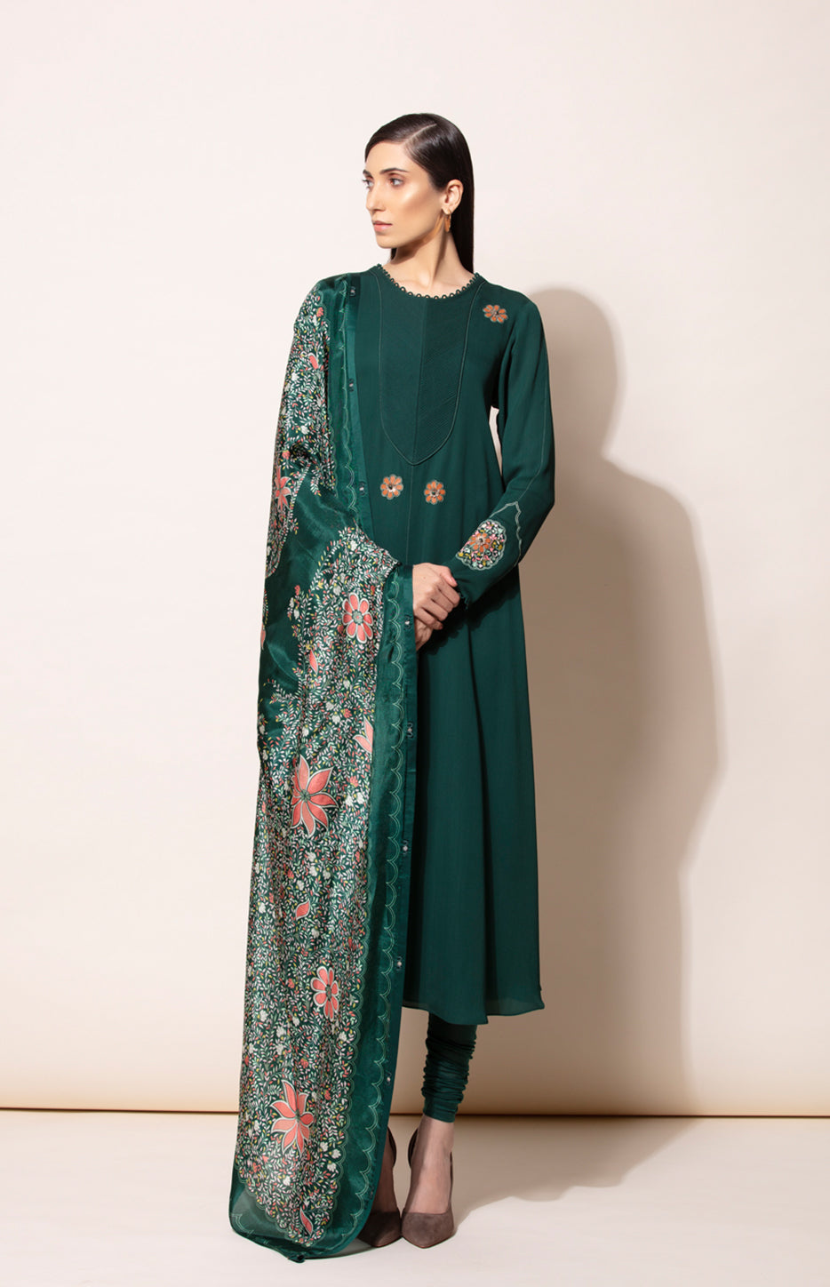 Bottle Green Anarkali Suit with Silk Printed Dupatta