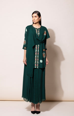 Bottle Green Tunic with Pleated Pant