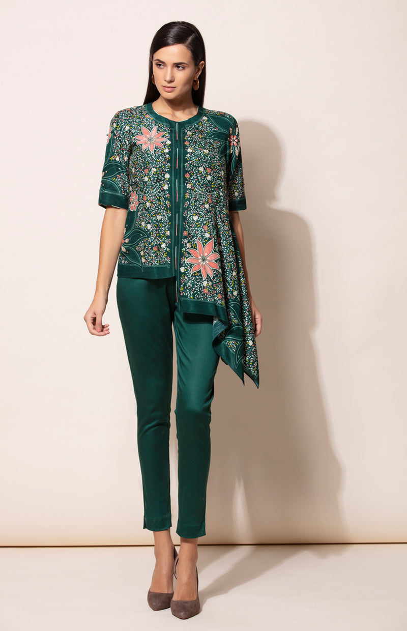 Bottle Green Asymmetric Top