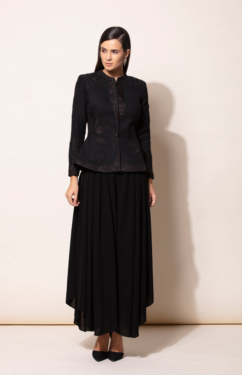 Black Applique Embroidered Woolen jacket