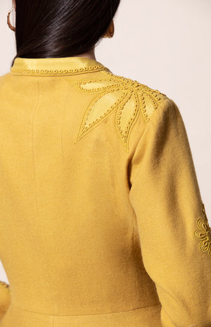 Dirty Mustard Applique Embroidered Woolen jacket