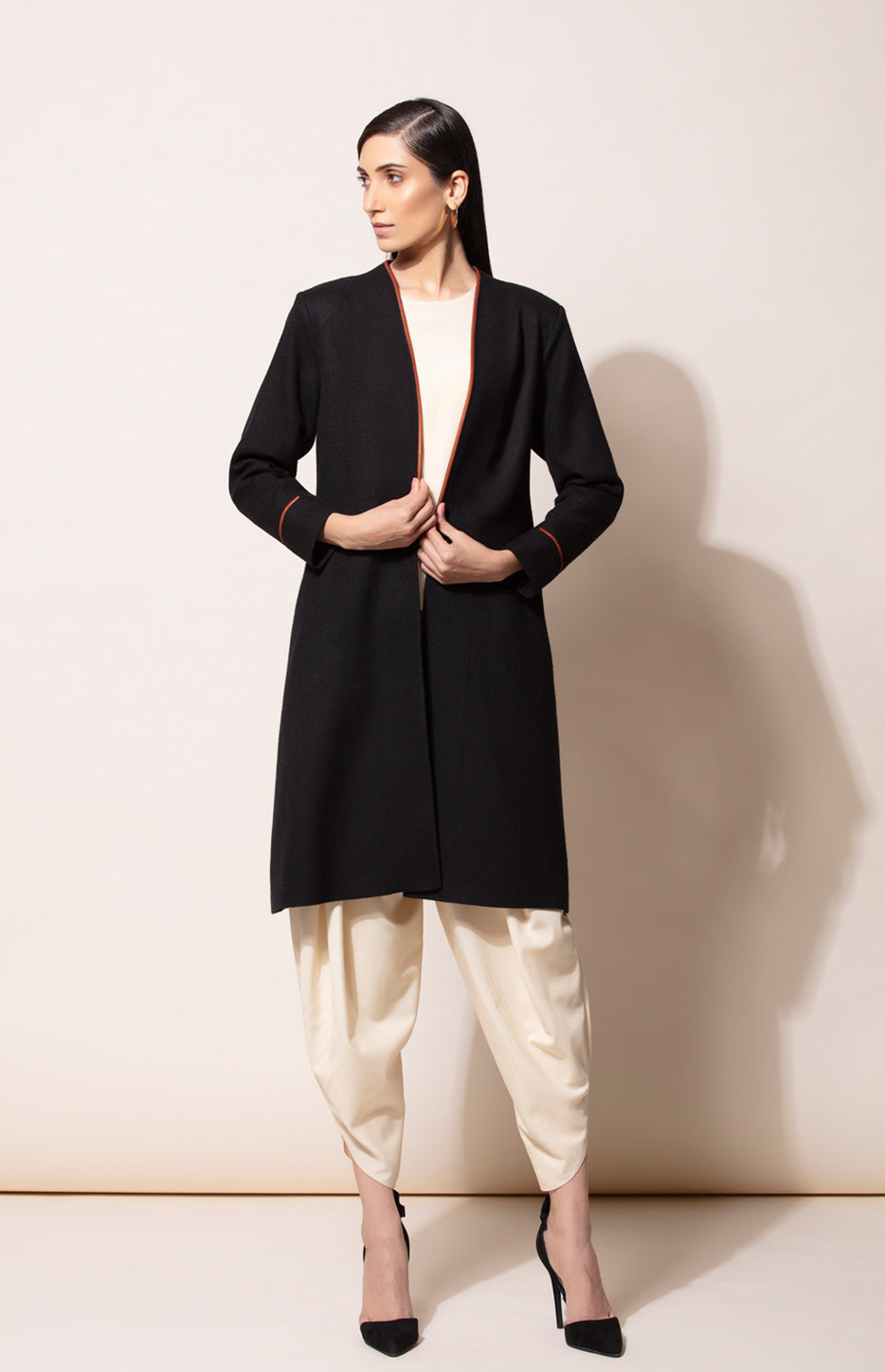 Black Long Chic Woollen Jacket