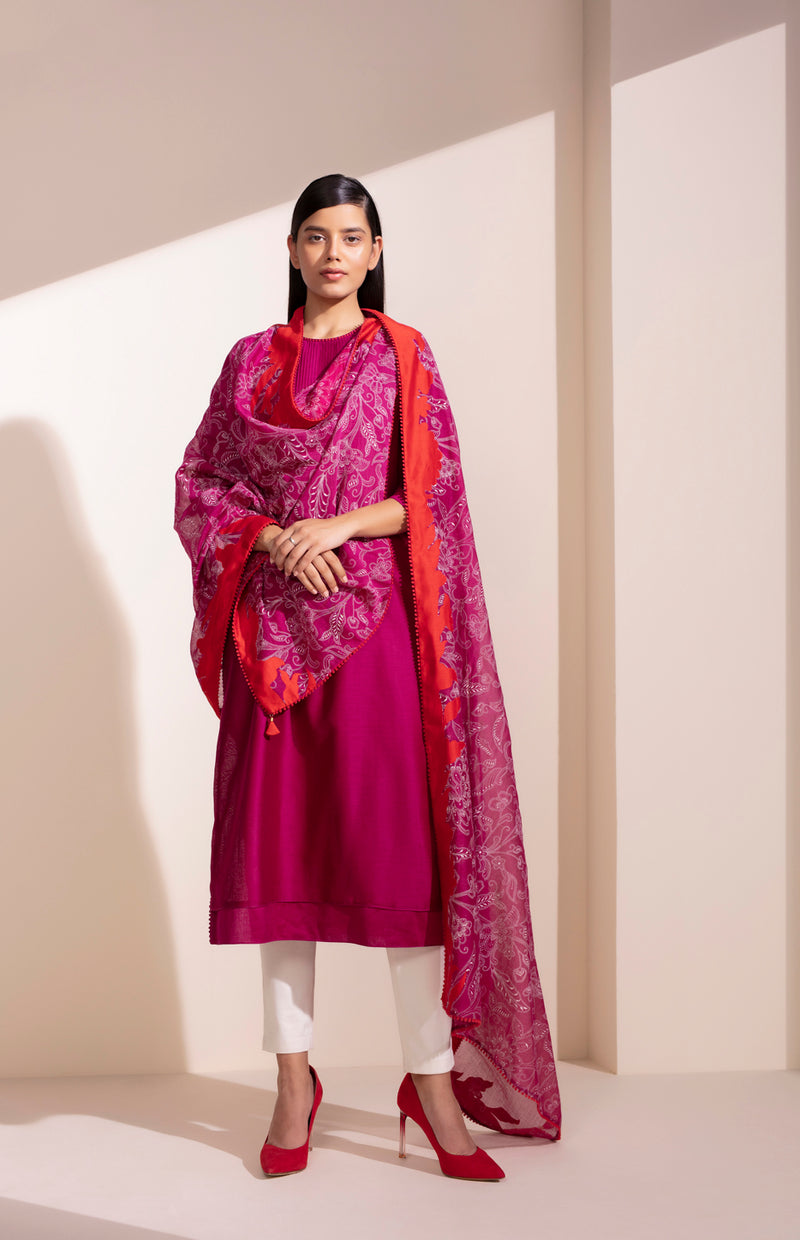 Mulberry Churidar Kurta Dupatta Set In Chanderi