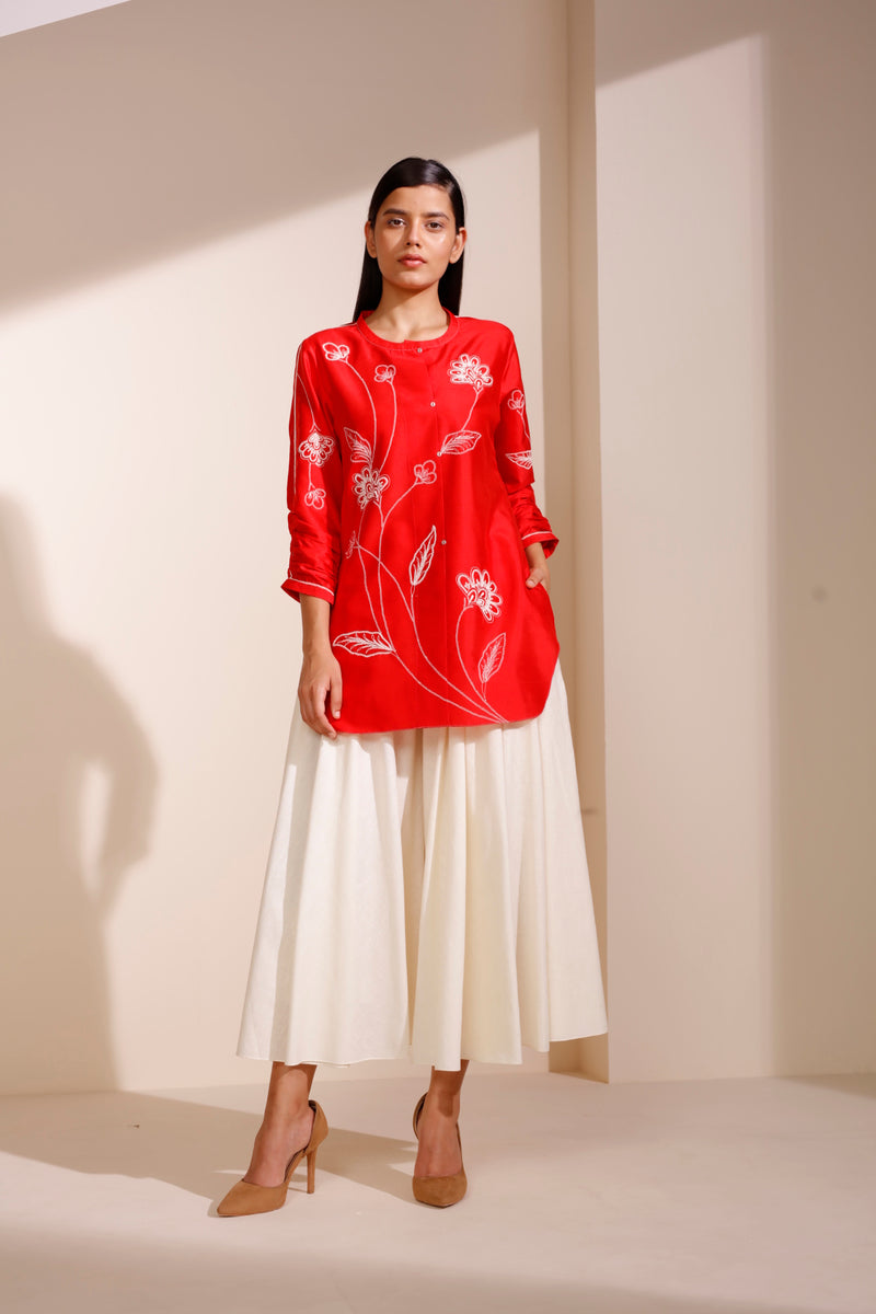 Fiery Red Chanderi Shirt With Khadi Palazzo