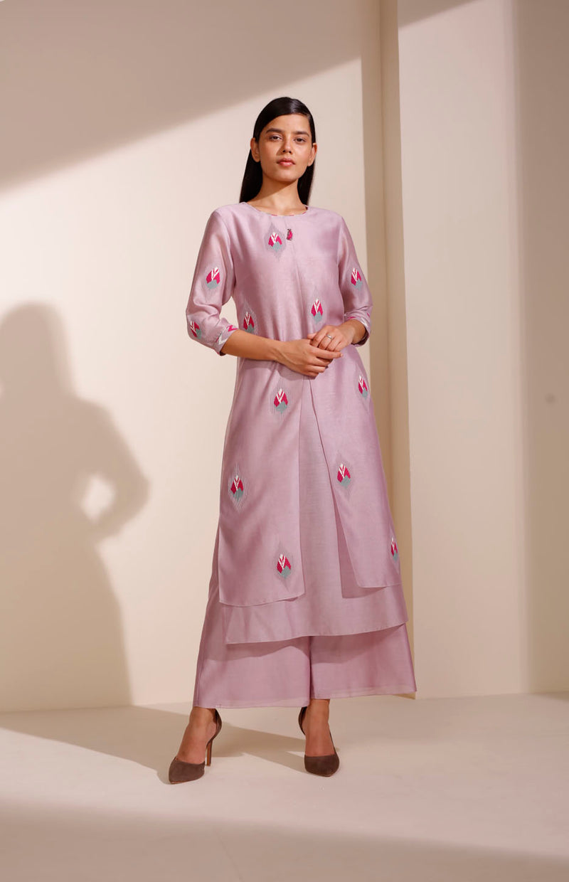 Dusty Lilac Tunic Set In Chanderi