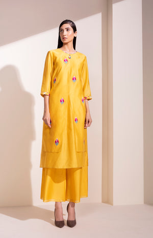 Mustard Tunic Set In Chanderi