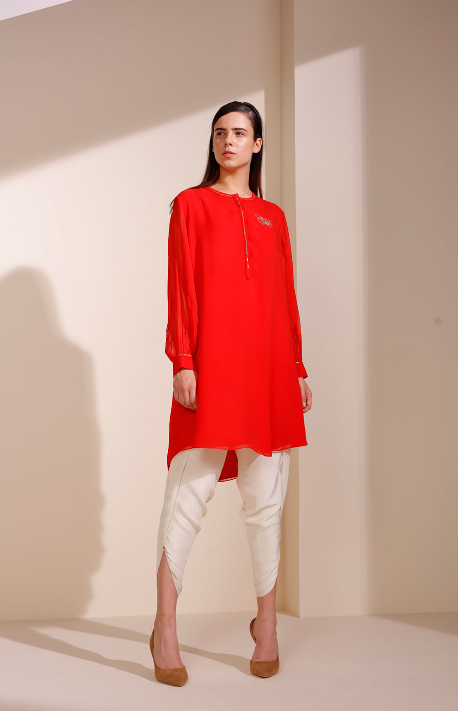 Fiery Red Tunic Set In Georgette