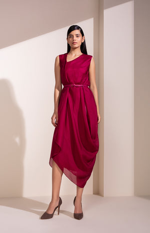 Mulberry Drape Dress In Kota Silk