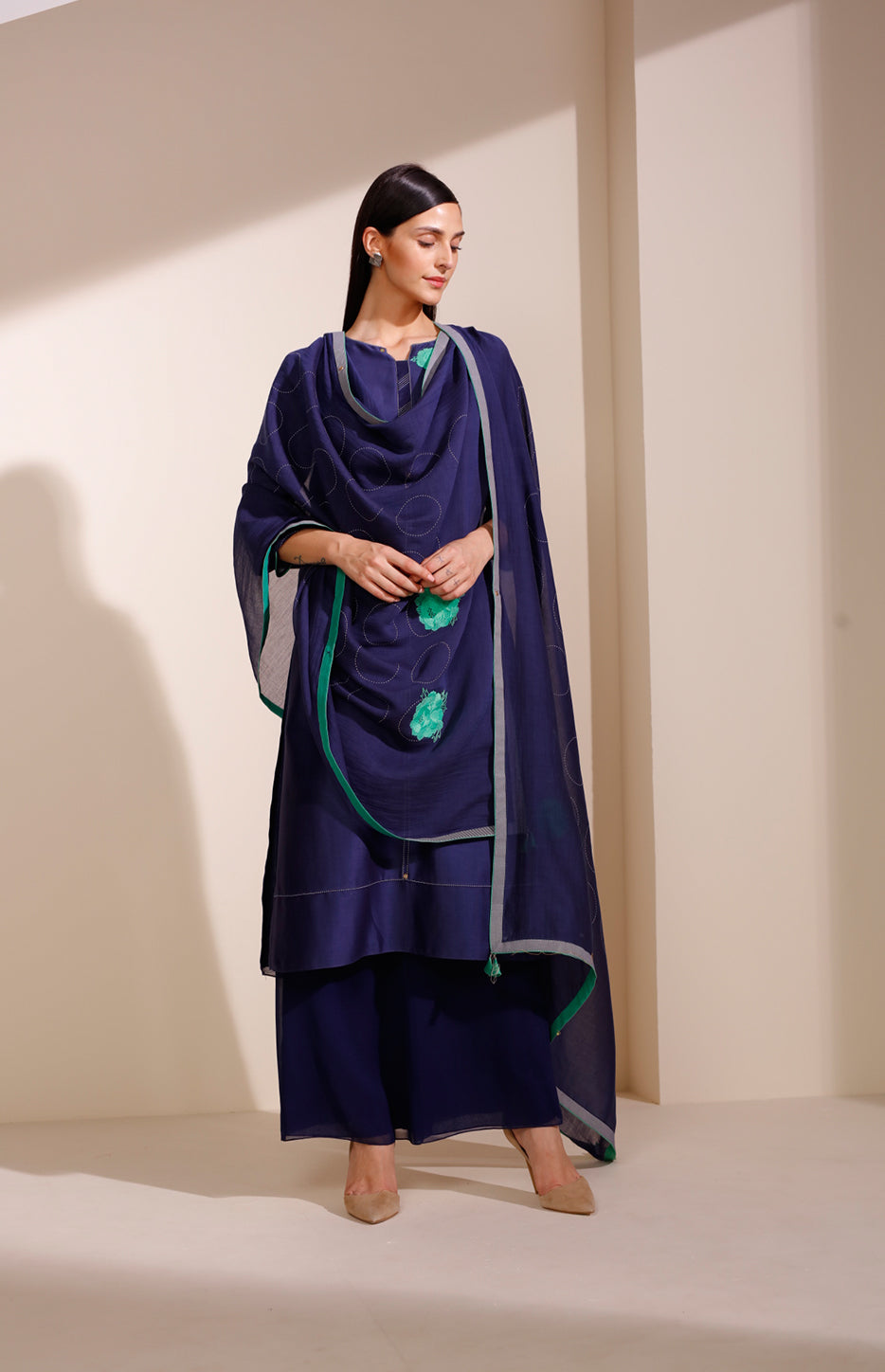 Indigo Suit in Chanderi With Floral Embroidery