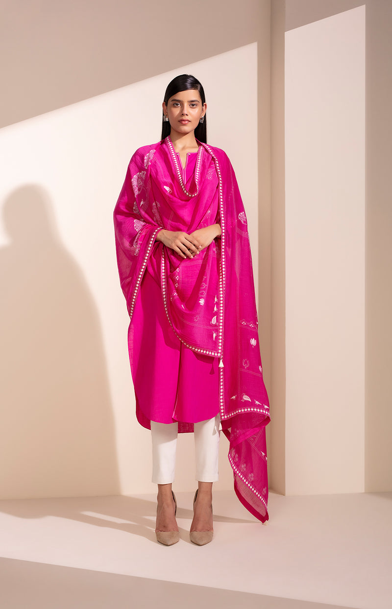 Thread Lifted Flourescent Pink CKD In Khadi