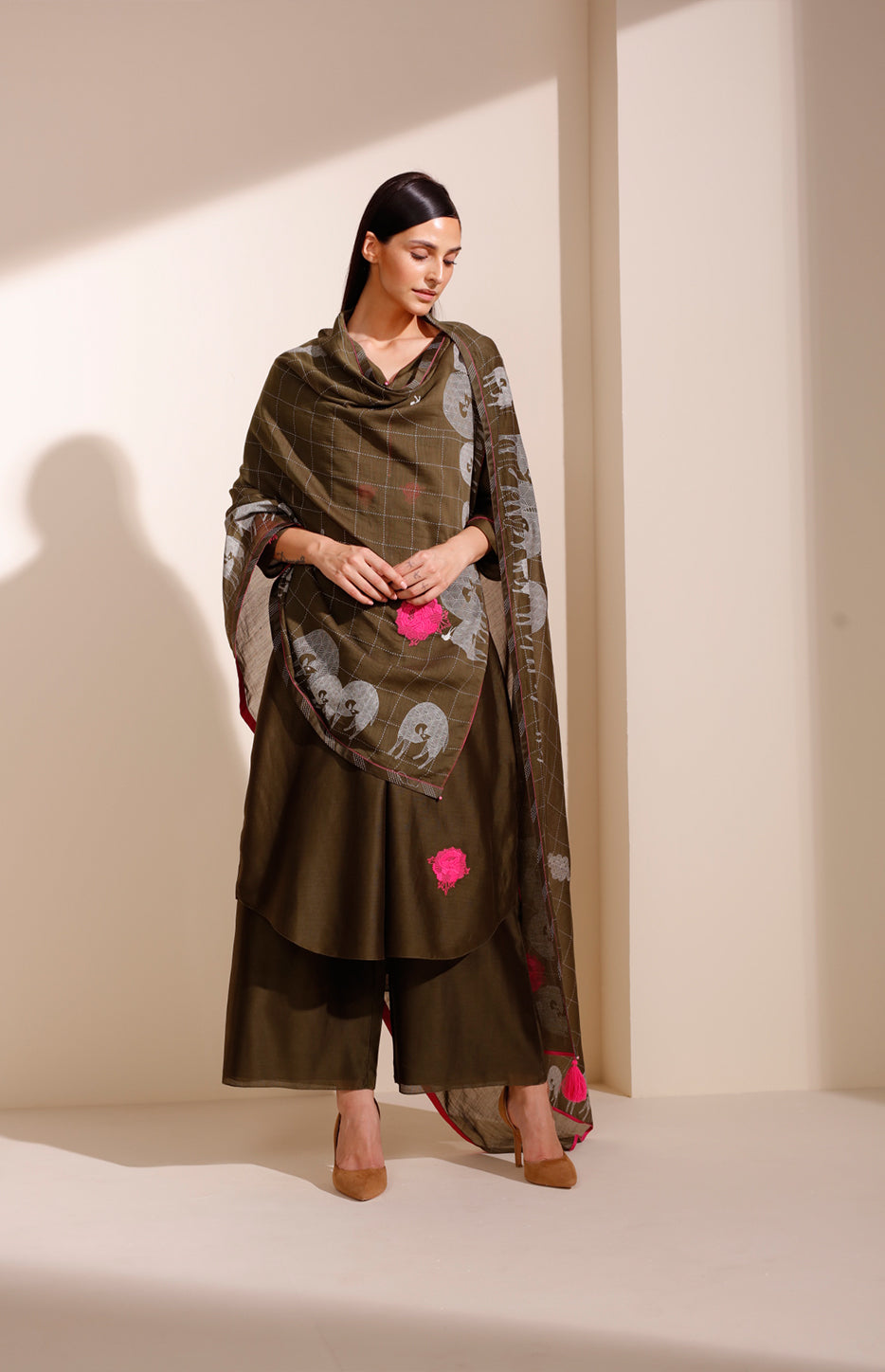 Olive CKD In Chanderi With Screenprinted Dupatta