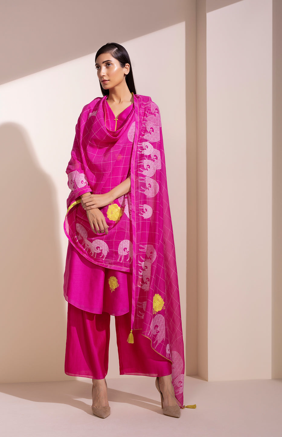 Flourescent Suit in Chanderi With Screen printed Dupatta