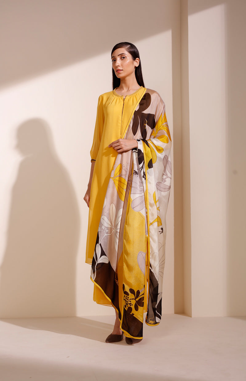 Mustard CKD In Georgette With Cut Details
