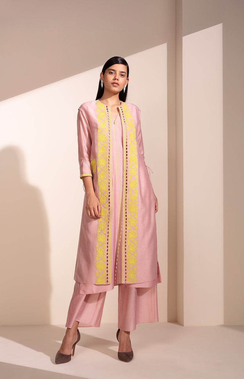Light Pink CKD Jacket Set In Chanderi