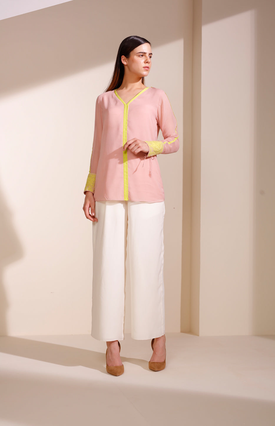 Light Pink Shirt In Georgette With Embroidered Cuffs