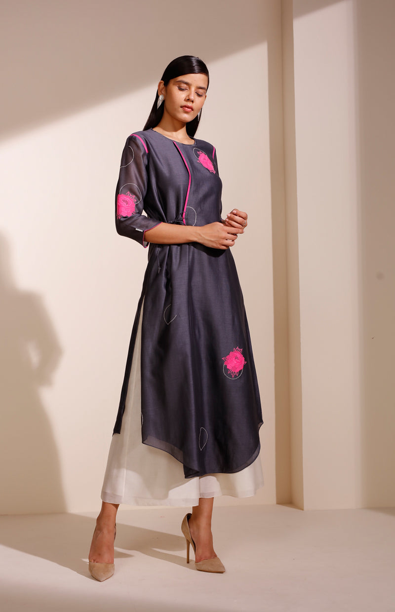 Charcoal Tunic In Chanderi With Minimal Floral Embroidery