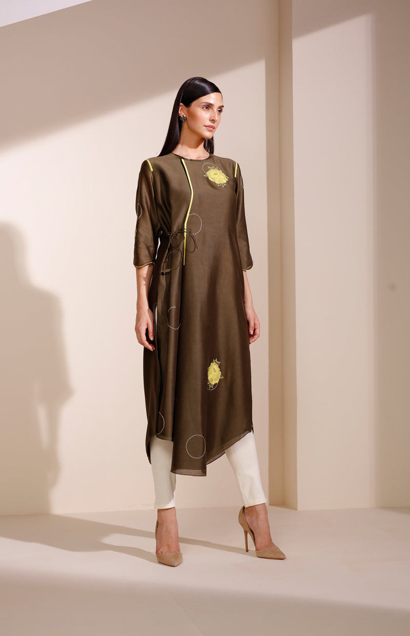 Olive Tunic Set In Chanderi With Minimal Floral Embroidery