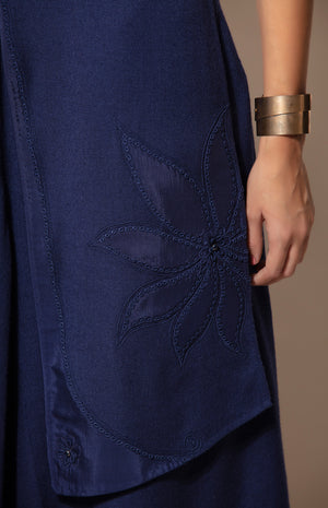 Woolen Navy Jacket with Applique embroidery