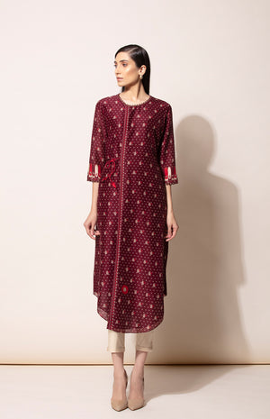 Burgundy Tunic with all over digital prints