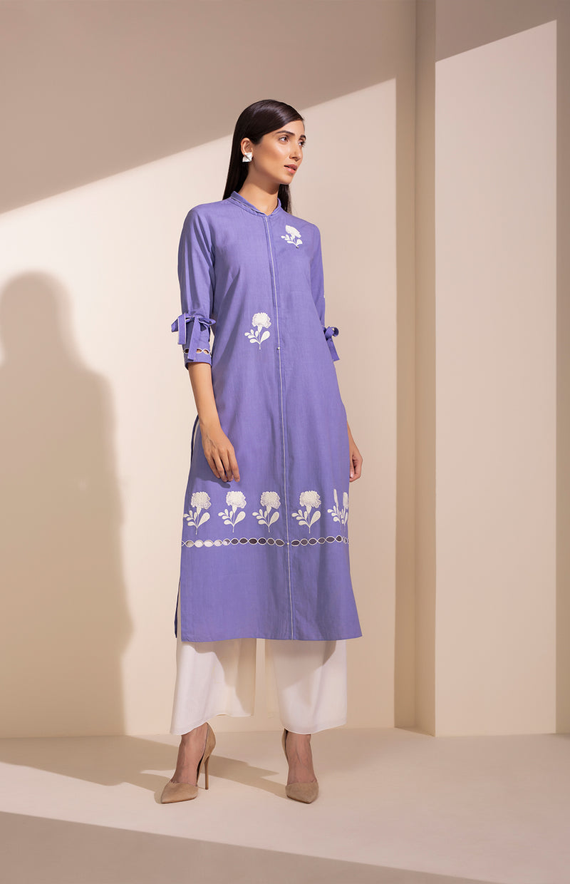 Dark Lavender Embroidered Tunic Set In Khadi