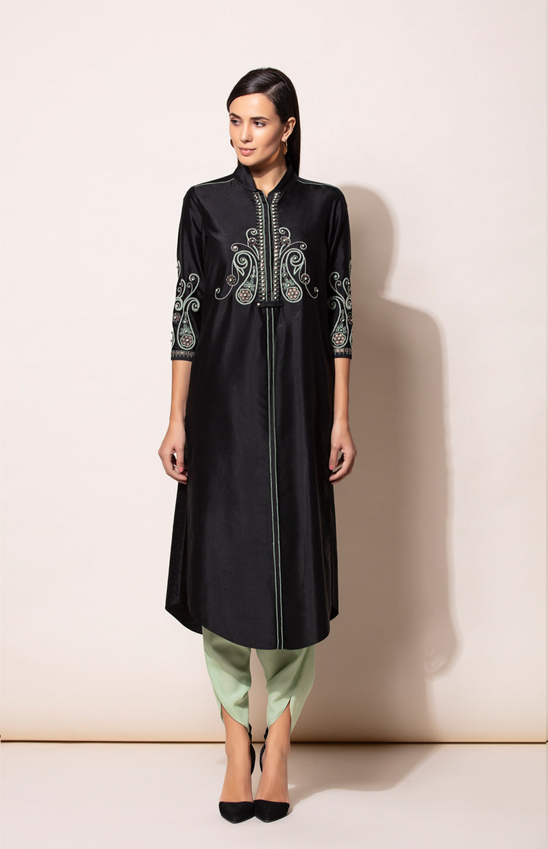 Black Tunic with Neon Green Dhoti Pants