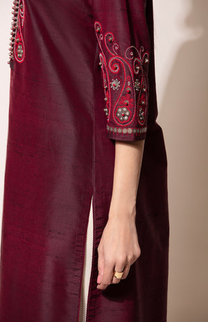 Burgundy Tunic with Toosh Dhoti Pants