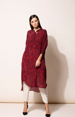 Burgundy all over digital prints Tunic