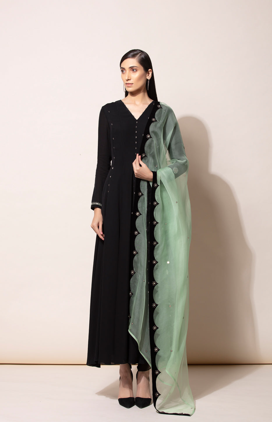 Black Anarkali with a twist of Dhoti Pants and paired with a Neon Green Dupatta
