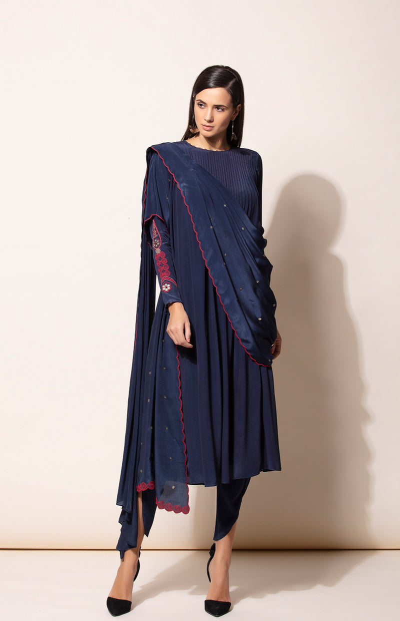 Navy Anarkali set with Dhoti pants and Dupatta