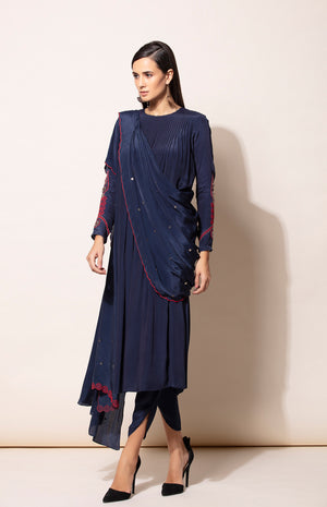 Navy Anarkali set with Dhoti pants and with pre draped Dupatta