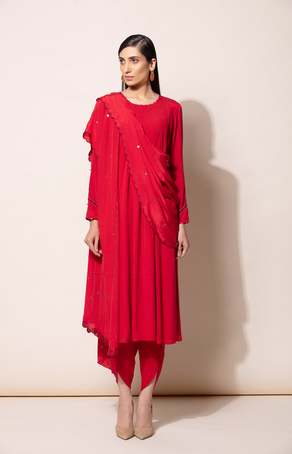 Red Anarkali set with Dhoti pants and Dupatta