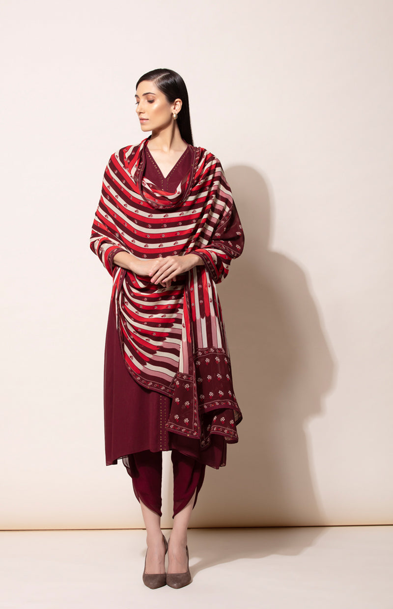 Bugundy Tunic dhoti and Dupatta set